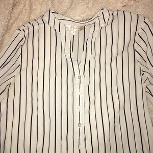 Tops - White Blouse with Black Vertical Stripes
